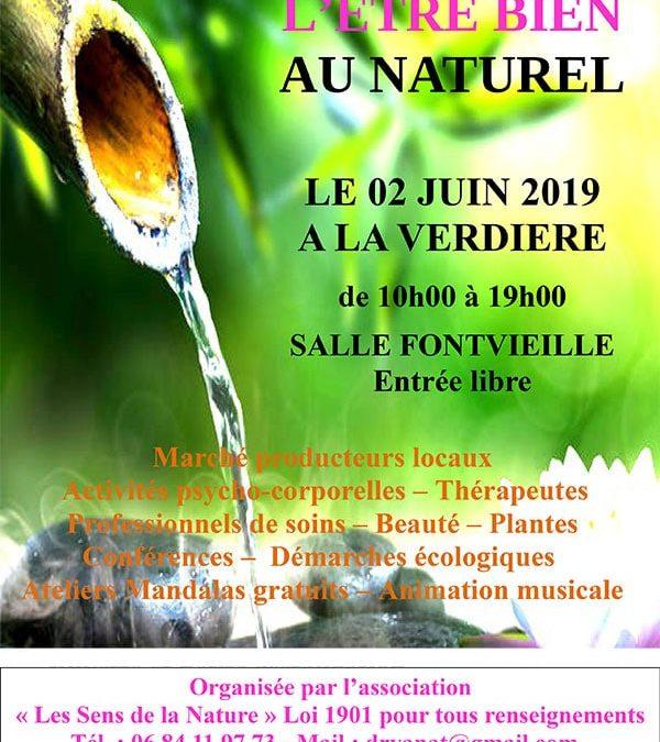 DIMANCHE 2 JUIN 2019 : Journée de l'Etre Bien au Naturel
